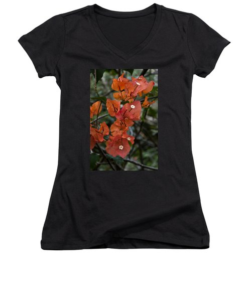 Women's V-Neck T-Shirt (Junior Cut) featuring the photograph Sundown Orange by Steven Sparks