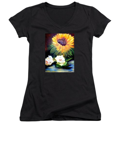 Sunflower And White Roses Women's V-Neck T-Shirt