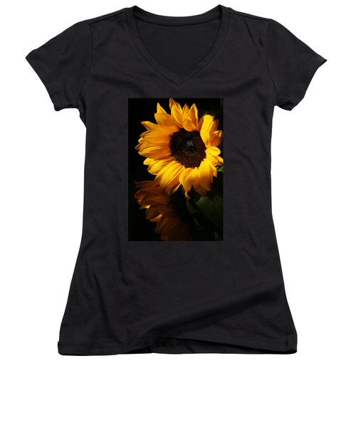 Sunflowers Women's V-Neck T-Shirt (Junior Cut) by Dorothy Cunningham