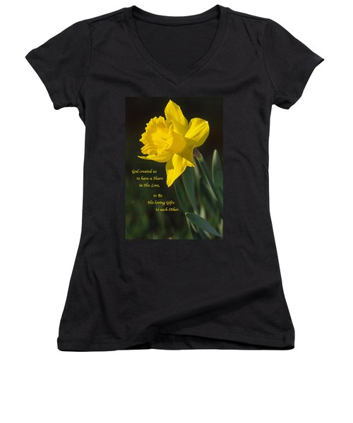 Sunny Daffodil With Quote Women's V-Neck (Athletic Fit)
