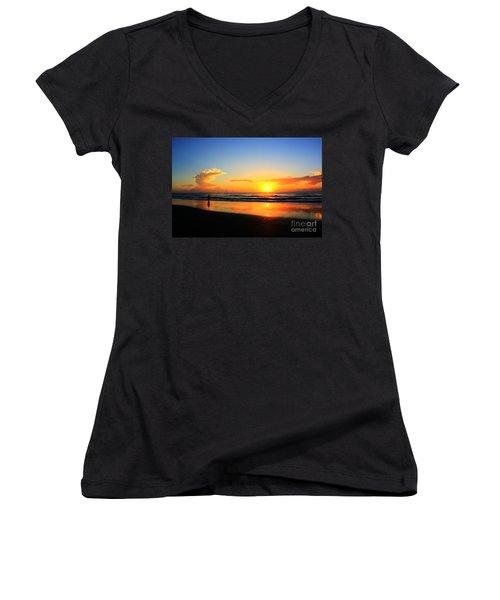 Sunrise Couple Women's V-Neck T-Shirt (Junior Cut) by Dan Stone