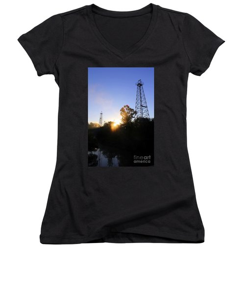 Sunrise On The Sabine Women's V-Neck T-Shirt