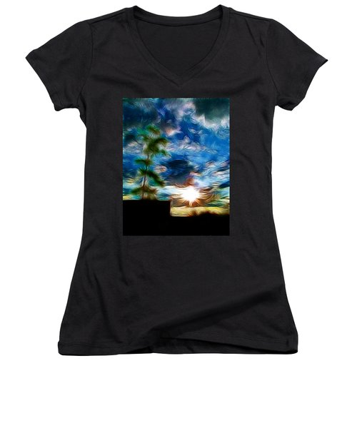 Sunrise Over Smithfield Women's V-Neck (Athletic Fit)