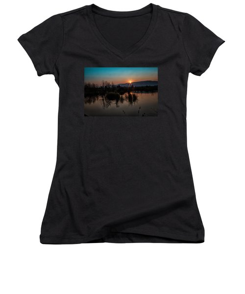 Sunrise Over The Beaver Pond Women's V-Neck (Athletic Fit)