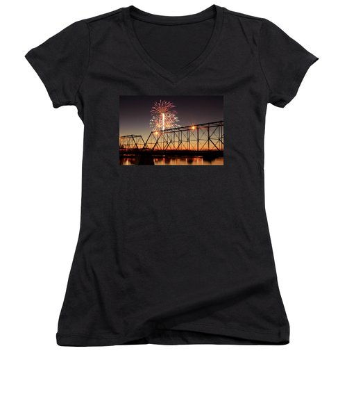 Sunset And Fireworks Women's V-Neck (Athletic Fit)