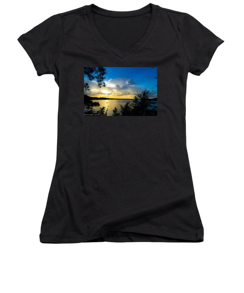 Sunset Fishing Women's V-Neck (Athletic Fit)