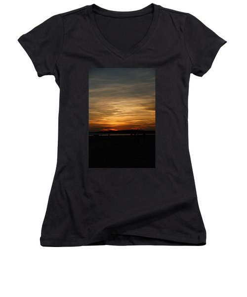 Women's V-Neck T-Shirt (Junior Cut) featuring the photograph Sunset In Pastels by Fotosas Photography