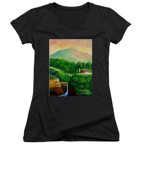 Sunset In The Mountain Women's V-Neck T-Shirt