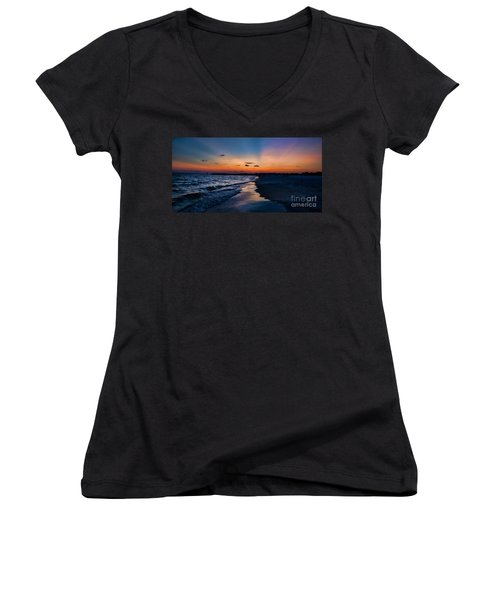 Sunset On The Beach Women's V-Neck (Athletic Fit)