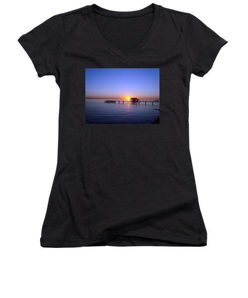 Sunset On The River Women's V-Neck (Athletic Fit)