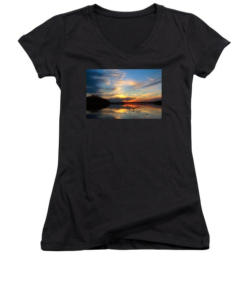 Sunset Over Calm Lake Women's V-Neck (Athletic Fit)