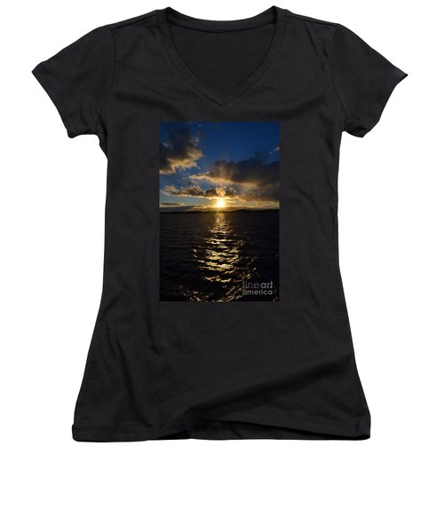 Sunset Over Winnepesaukee Women's V-Neck T-Shirt