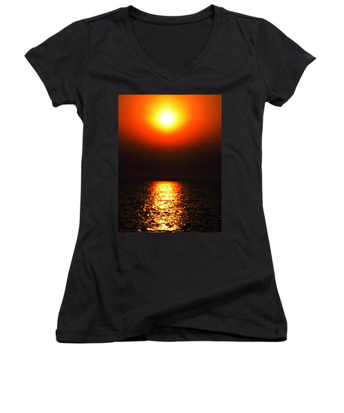 Women's V-Neck T-Shirt (Junior Cut) featuring the photograph sunset Santorini Greece by Colette V Hera  Guggenheim