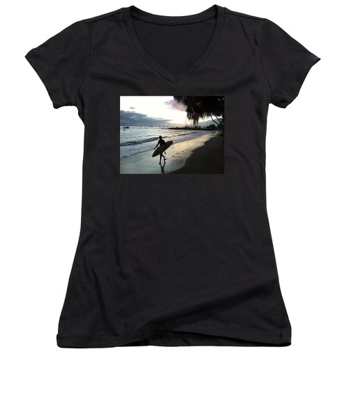 Sunset Surf Women's V-Neck (Athletic Fit)
