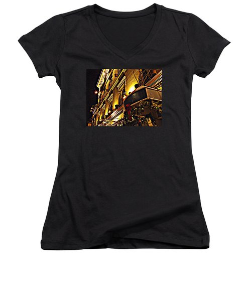 Women's V-Neck T-Shirt (Junior Cut) featuring the photograph Swans Hotel by Marilyn Wilson