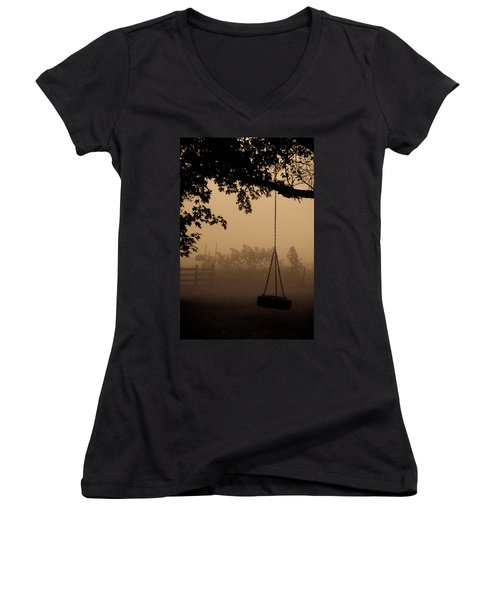 Women's V-Neck T-Shirt (Junior Cut) featuring the photograph Swing In The Fog by Cheryl Baxter