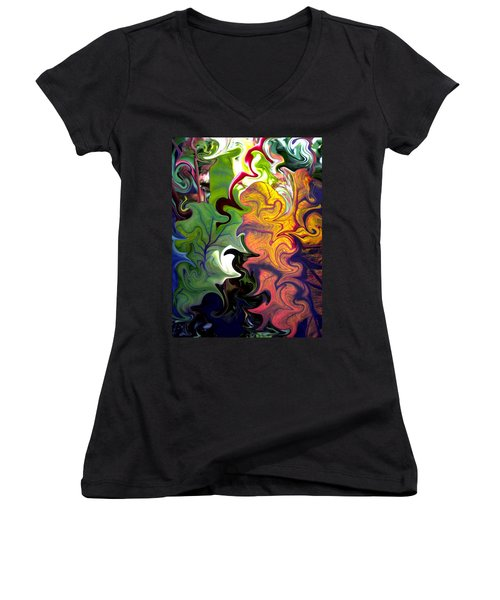 Swirled Leaves Women's V-Neck T-Shirt (Junior Cut) by Renate Nadi Wesley