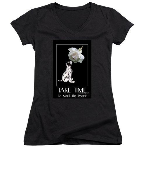 Take Time To Smell The Roses Women's V-Neck T-Shirt (Junior Cut) by Smilin Eyes  Treasures
