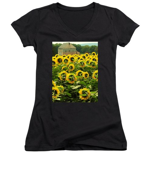 Tall Sunflowers Women's V-Neck (Athletic Fit)