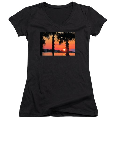 Women's V-Neck T-Shirt (Junior Cut) featuring the photograph Tangerine Dream by Jan Amiss Photography