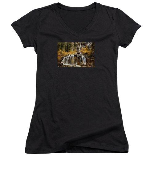 Women's V-Neck T-Shirt (Junior Cut) featuring the photograph Tangle Falls, Jasper National Park by Keith Kapple