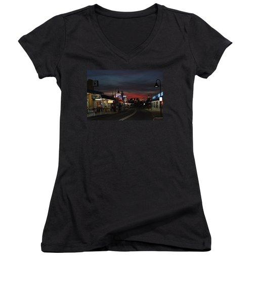 Women's V-Neck T-Shirt (Junior Cut) featuring the photograph Tarpon Springs After Sundown by Ed Gleichman
