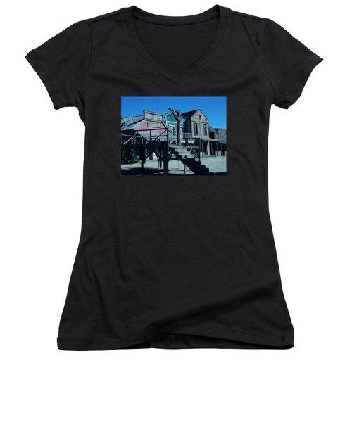 Taverna Western Village In Spain Women's V-Neck T-Shirt (Junior Cut) by Colette V Hera  Guggenheim