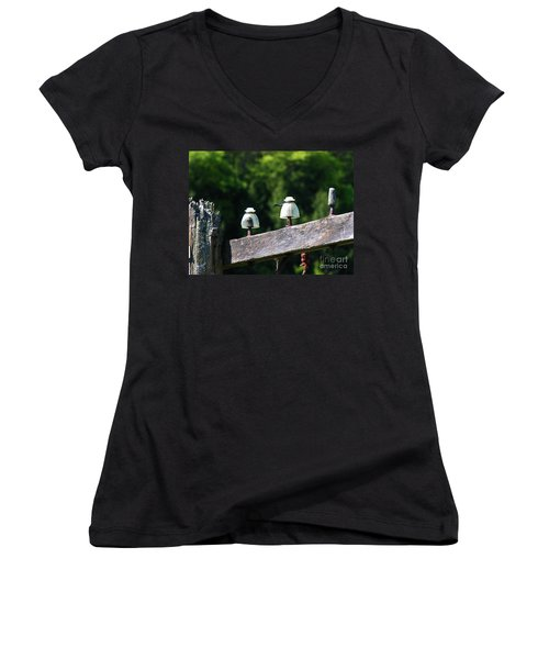 Women's V-Neck T-Shirt (Junior Cut) featuring the photograph Telephone Pole And Insulators by Sherman Perry