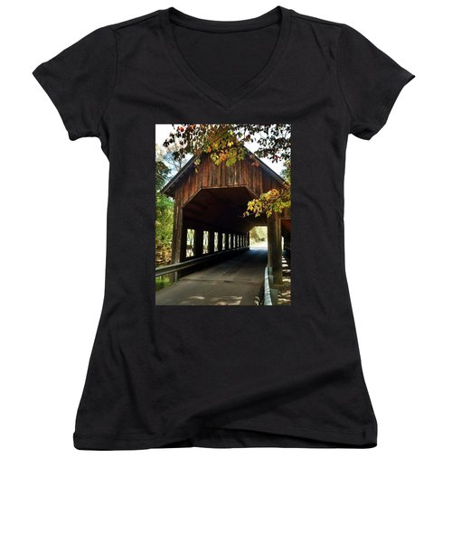 Women's V-Neck T-Shirt (Junior Cut) featuring the photograph Tennesse Covered Bridge by Janice Spivey