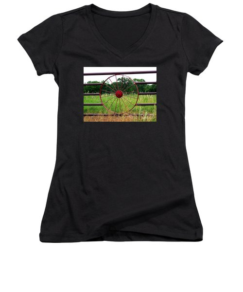 Women's V-Neck T-Shirt (Junior Cut) featuring the photograph Texas Wildflowers Through Wagon Wheel by Kathy  White