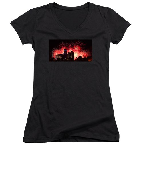 Women's V-Neck T-Shirt (Junior Cut) featuring the photograph The 54th Annual Target Fireworks In Detroit Michigan - Version 2 by Gordon Dean II