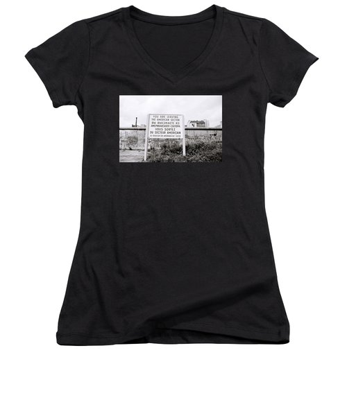 Berlin Wall American Sector Women's V-Neck (Athletic Fit)