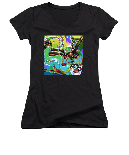 The Bull Fighter Women's V-Neck T-Shirt (Junior Cut) by Alec Drake