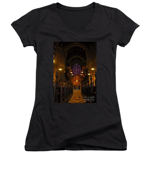 Women's V-Neck T-Shirt (Junior Cut) featuring the photograph The Chapel At Valley Forge Park by Cindy Manero