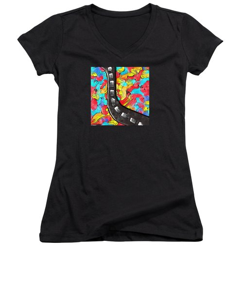The Color Highway Women's V-Neck T-Shirt (Junior Cut) by Alec Drake