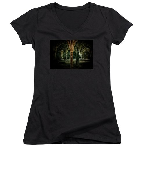 Women's V-Neck T-Shirt (Junior Cut) featuring the photograph The Crypt by Chris Lord