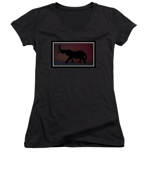 Women's V-Neck T-Shirt (Junior Cut) featuring the digital art The Elephant... by Tim Fillingim