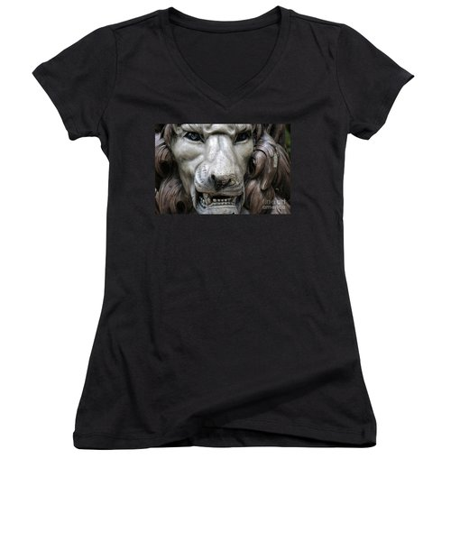 Women's V-Neck T-Shirt (Junior Cut) featuring the photograph The Fierce Lion  by Kathy  White
