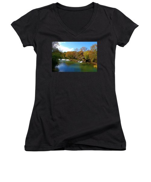 Women's V-Neck T-Shirt (Junior Cut) featuring the photograph The Grist Big River by Peggy Franz