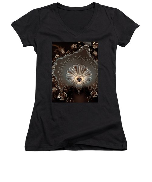 The Lady And Her Lace Women's V-Neck T-Shirt (Junior Cut)