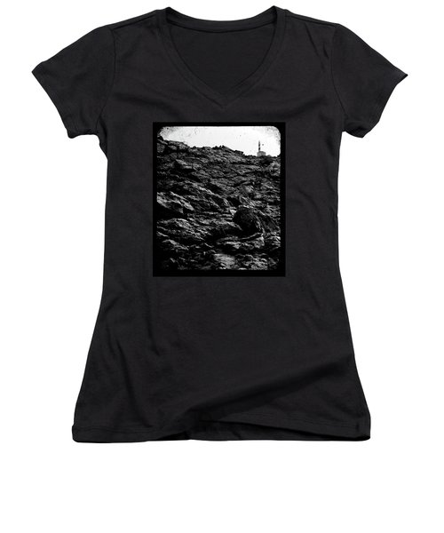 Women's V-Neck T-Shirt (Junior Cut) featuring the photograph The Lighthouse1 by Pedro Cardona