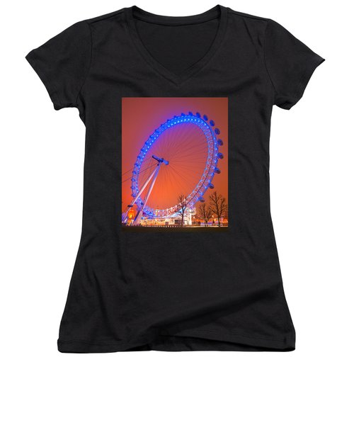 Women's V-Neck T-Shirt (Junior Cut) featuring the photograph The London Eye by Luciano Mortula