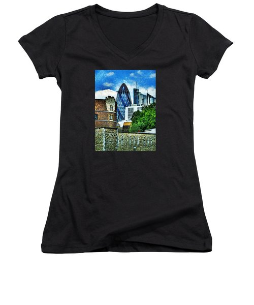 The London Gherkin  Women's V-Neck T-Shirt (Junior Cut) by Steve Taylor