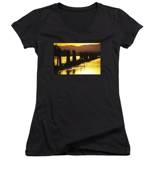 The Lost River Of Gold Women's V-Neck T-Shirt (Junior Cut) by Albert Seger
