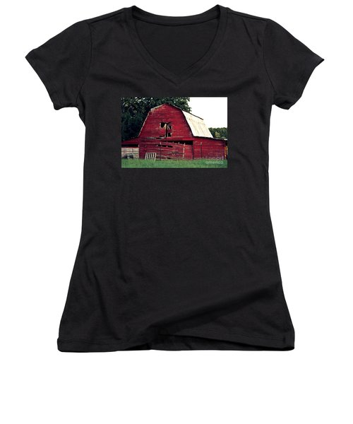 Women's V-Neck T-Shirt (Junior Cut) featuring the photograph The Ole Red Barn by Kathy  White