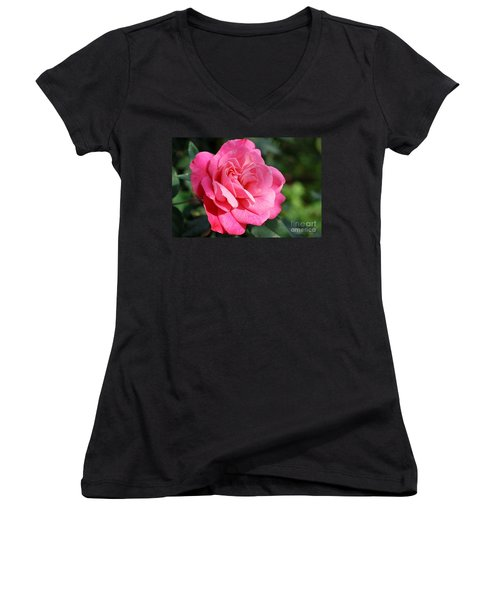 Women's V-Neck T-Shirt (Junior Cut) featuring the photograph The Pink Rose by Fotosas Photography