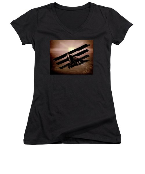 Women's V-Neck T-Shirt (Junior Cut) featuring the photograph The Red Baron's Fokker At Sunset by Chris Lord