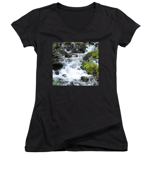 Women's V-Neck T-Shirt (Junior Cut) featuring the photograph The Roadside Stream by Chalet Roome-Rigdon