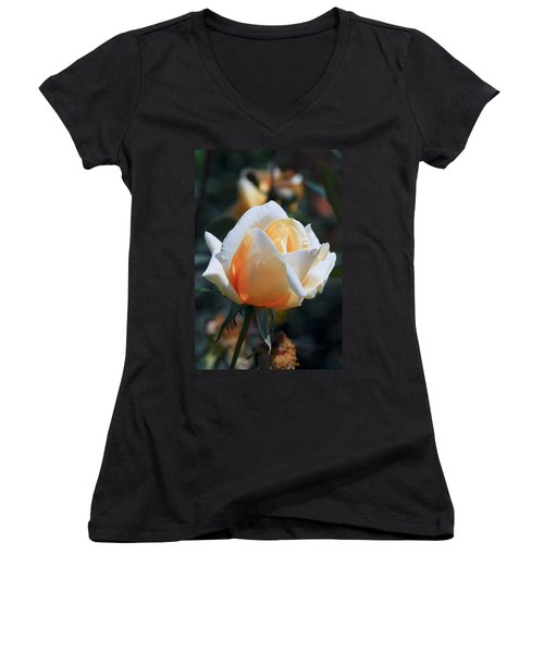Women's V-Neck T-Shirt (Junior Cut) featuring the photograph The Rose by Fotosas Photography