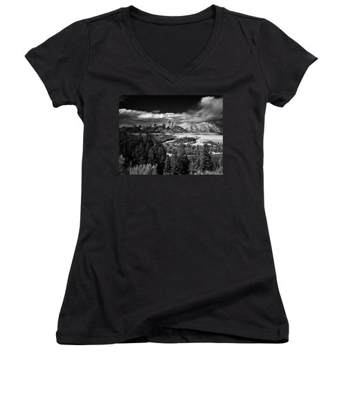 The Tetons Women's V-Neck T-Shirt (Junior Cut) by Larry Carr